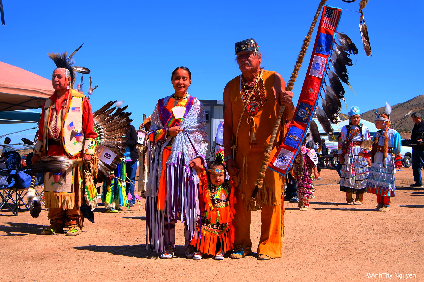 A family in Pow Wow celebration - Native American Tradion