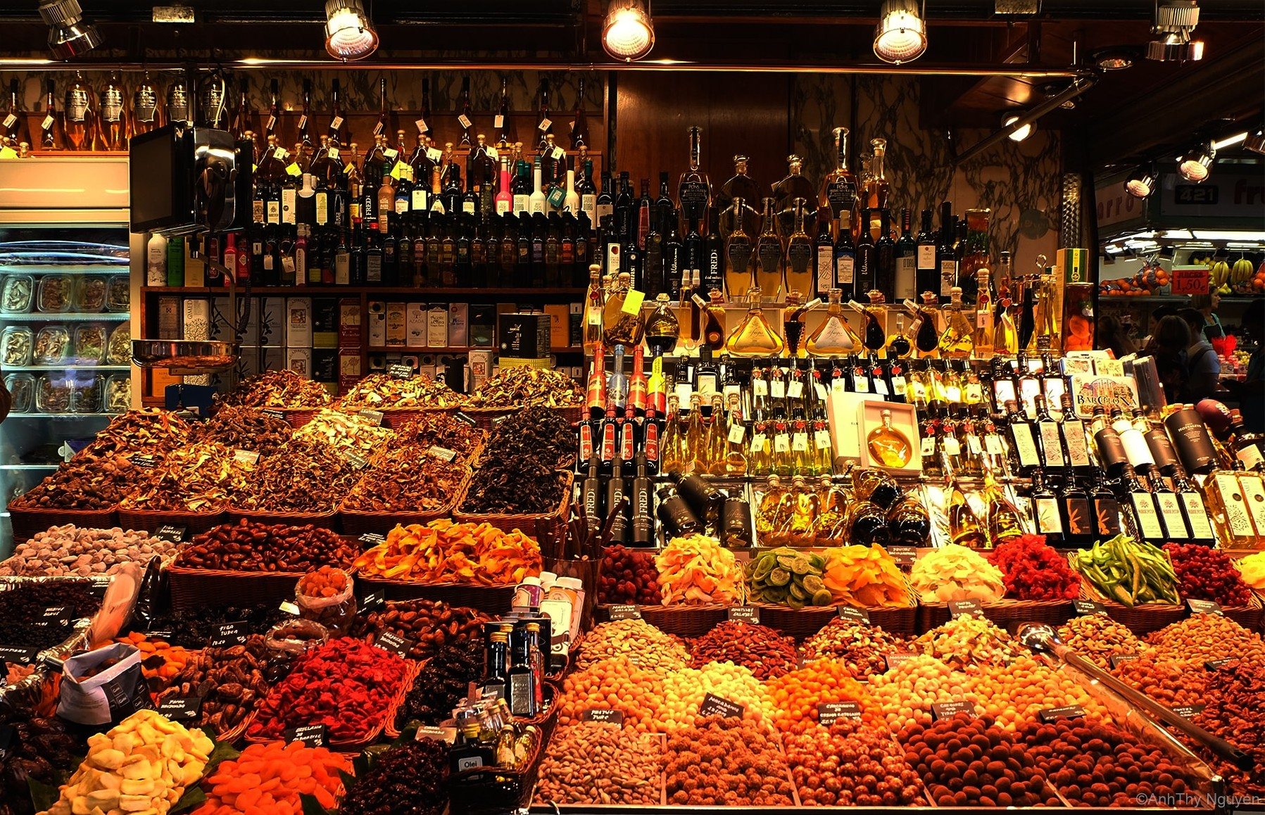 Spices, dried fruit, wines in La Boqueria Food Market