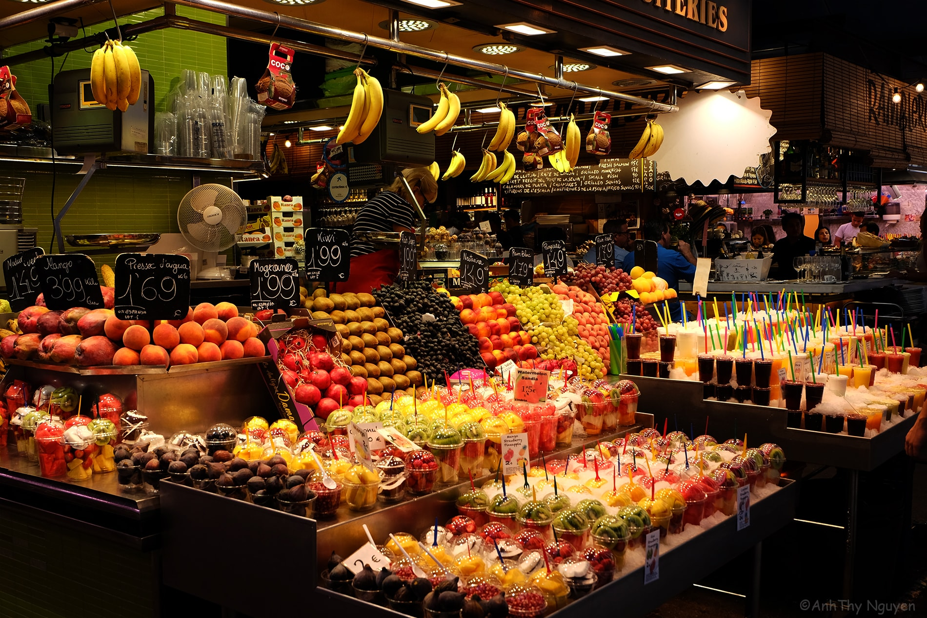 La Boqueria Food Market Barcelona - Fruit and Juice Stand